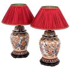 Pair of Lamps in Imari Porcelain and Painted Wood, circa 1880