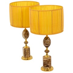 Pair of Lamps in Onyx and Gilt Bronze, 1970s