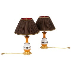 Pair of Lamps in Orange and White Porcelain, circa 1880
