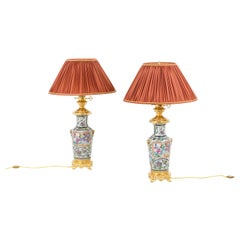 Pair of Lamps in Samson Porcelain and Gilt Bronze, circa 1880