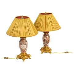 Pair of Lamps in Satsuma Earthenware and Gilt Bronze, circa 1880