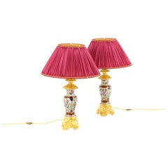 Pair of Lamps in Valentine Porcelain and Gilt Bronze, circa 1880