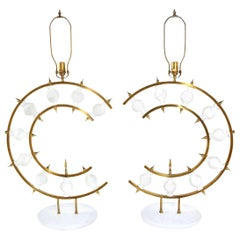 Pair of Lamps, Plaster and Brass, Organic Shape, Contemporary, in Stock