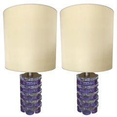 Pair of Lamps Pressed Glass by Biancardi and Jordan Arte, Italy, 1970
