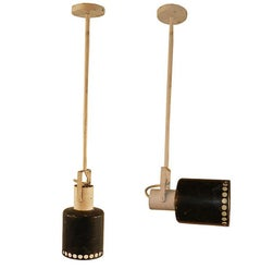 Pair of Lamps / Sconces in Lacquered Metal, circa 1950