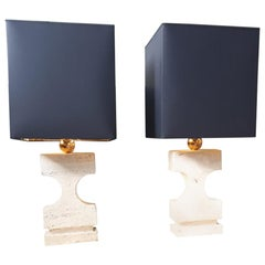 Pair of Lamps Sculpture, in Travertine and Brass, 1970, Italy