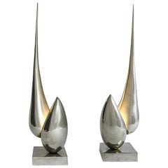 Pair of Lamps Sculptures by Michel Armand