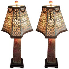 Pair of Lamps Stone Custom Shades Asian Style