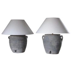 Pair of Lamps, Table Lamps, Bedside Lamps, Clay Pot Lamps