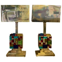 Pair of Lamps with Multicolored Murano Glass Cubes and Brass Lampshades, 1980s