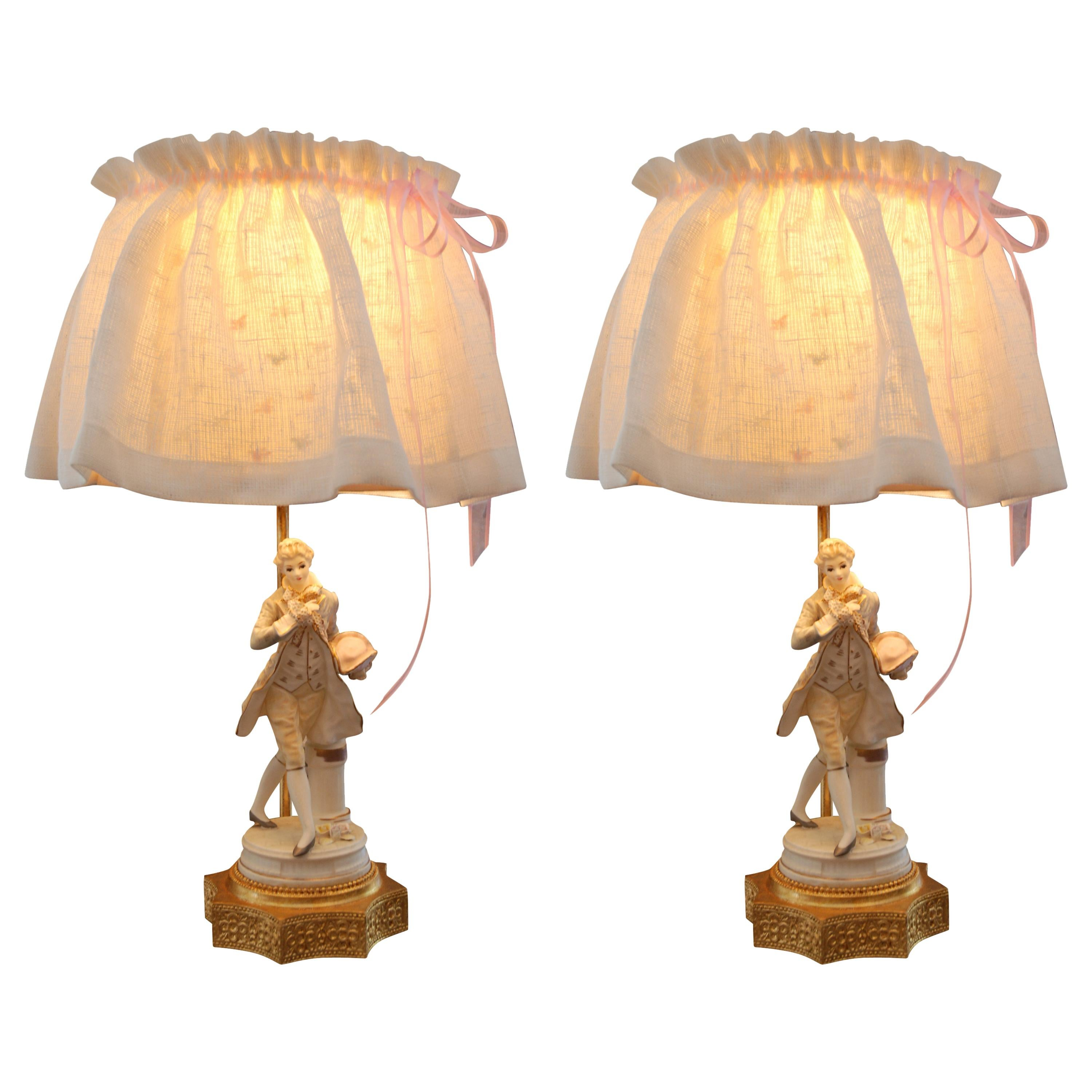 Pair of Lamps with Porcelain Figurines