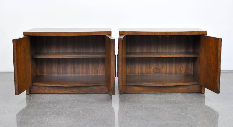 Stained Pair of Lane Brutalist Nightstands For Sale