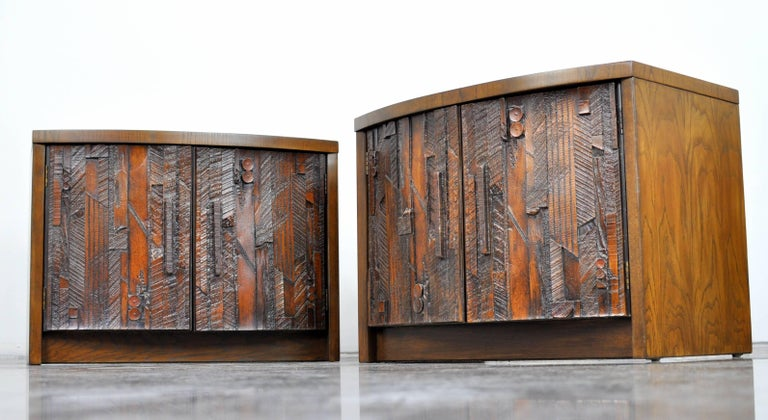 Pair of Lane Brutalist Nightstands In Excellent Condition For Sale In Miami, FL