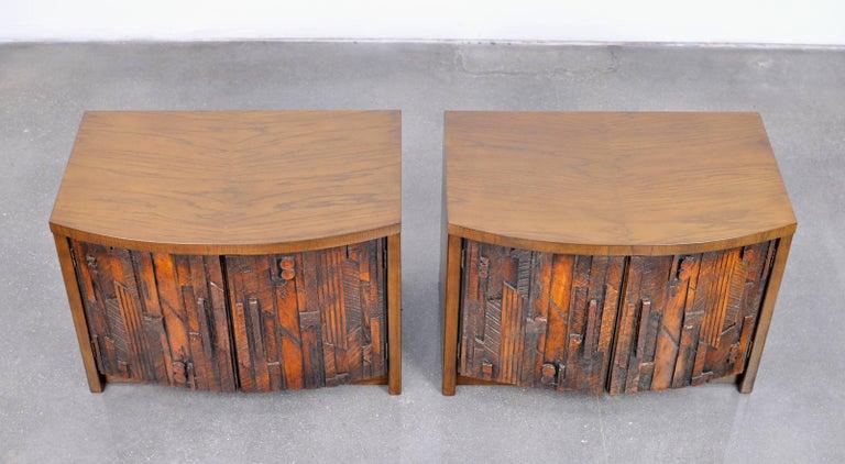 Pair of Lane Brutalist Nightstands For Sale 1
