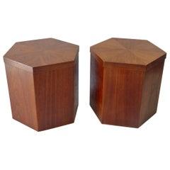 Pair of Lane Hexagonal Walnut Side Pedestal Tables
