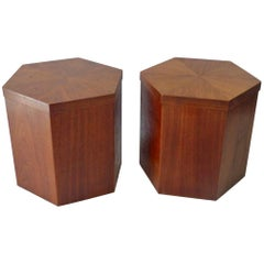 Pair of Lane Hexagonal Walnut Side Pedestal Tables Priced Separately