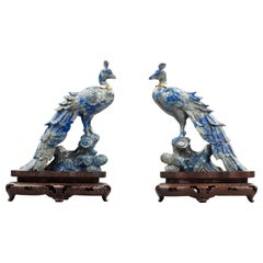 Pair of Lapis Figures of Birds