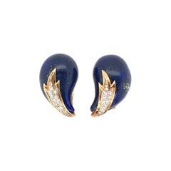 Pair of Lapis Lazuli and Diamond Earrings