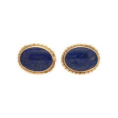 Pair of Lapis Lazuli and Yellow Gold Cufflinks