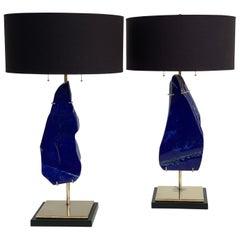 Pair of Lapis Lazuli Lamps