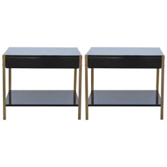 Pair of 'Laque' Black Lacquer and Brass Nightstands by Design Frères