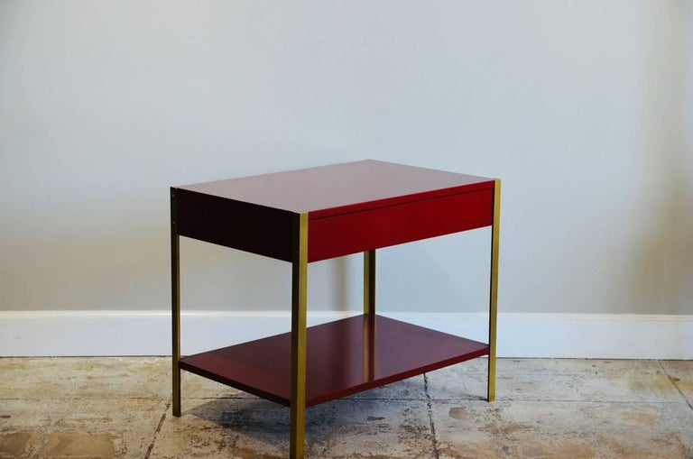 Modern Pair of 'Laque' Oxblood Lacquer and Brass Nightstands by Design Frères For Sale
