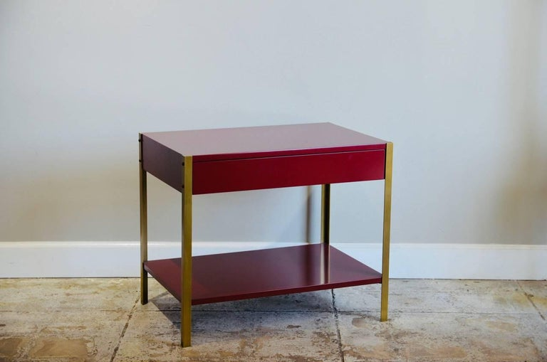 Pair of 'Laque' Oxblood Lacquer and Brass Nightstands by Design Frères In Excellent Condition For Sale In Los Angeles, CA