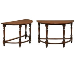 Pair of Large 1820s Italian Walnut Demilune Console Tables with Turned Legs