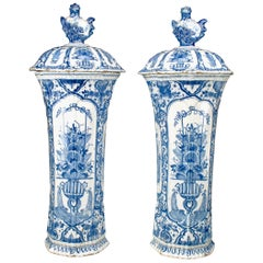 Pair of Large 18th Century Delft Blue and White Vases and Covers