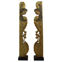 Pair of Large 18th Century Italian Baroque Panels with Angels