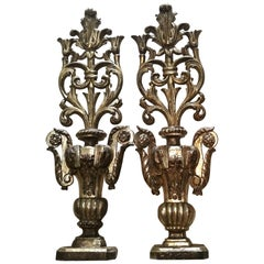 Pair of Large 18th Century Italian Carved Wood and Parcel-Gilt Altar Ornaments