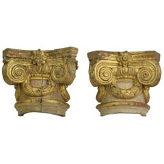 Pair of Large 18th Century, Italian Giltwood Capitals