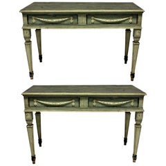 Pair of Large 18th Century Northern Italian Neoclassical Painted Console Tables