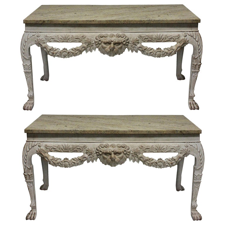 Pair of Large 18th Century Style Painted Marble-Top Consoles
