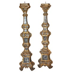 Pair of Large 18th Century Venetian Mirrored Pricket or Altar Sticks