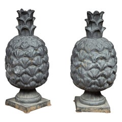 Pair of Large 1900s American Iron Pineapple Sculptures Resting on Square Bases