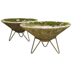 Pair of Large 1950s Conical Concrete Garden Planters on Stands