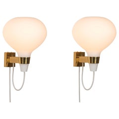 Pair of Large 1950s Lisa Johansson-Pape Bulbo Glass & Brass Wall Lamps for Orno