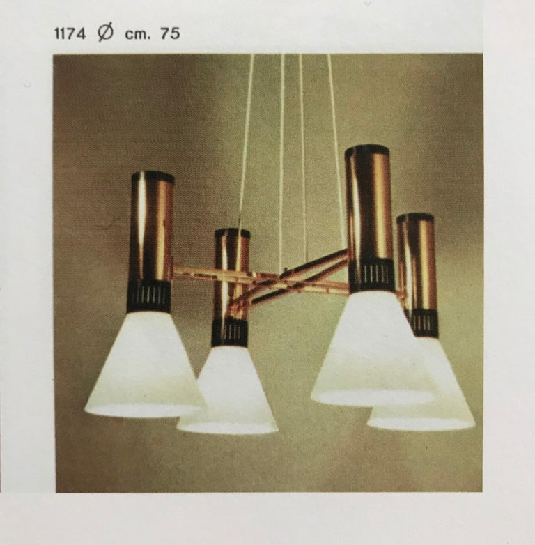 Pair of large 1950s Stilnovo 4-cone model #1174 chandeliers. A quintessentially iconic 1950s Italian design comprised of 4 large matte