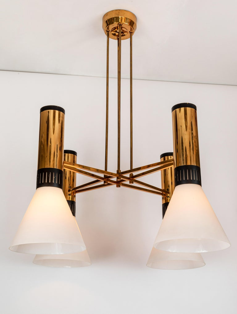 Painted Pair of Large 1950s Stilnovo 4-Cone Model #1174 Chandeliers