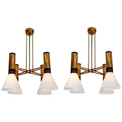 Pair of Large 1950s Stilnovo 4-Cone Model #1174 Chandeliers