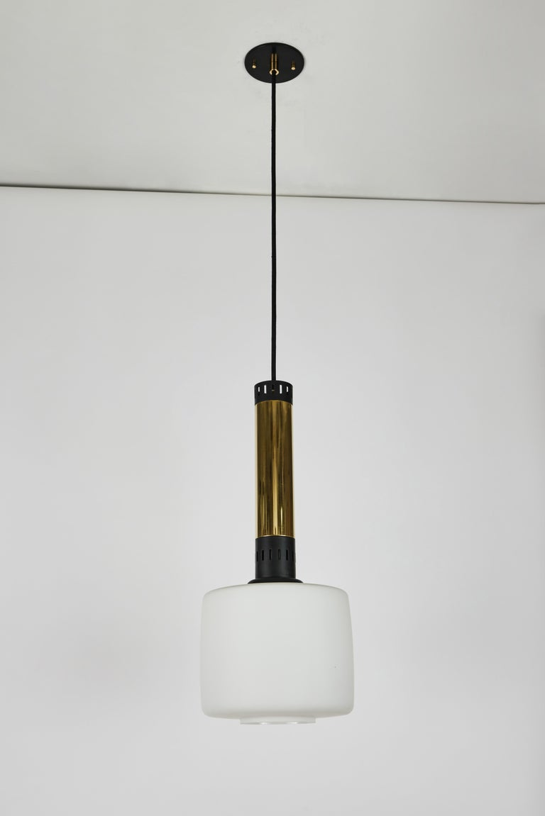 Pair of Large 1950s Stilnovo Glass and Brass Pendants For Sale 3