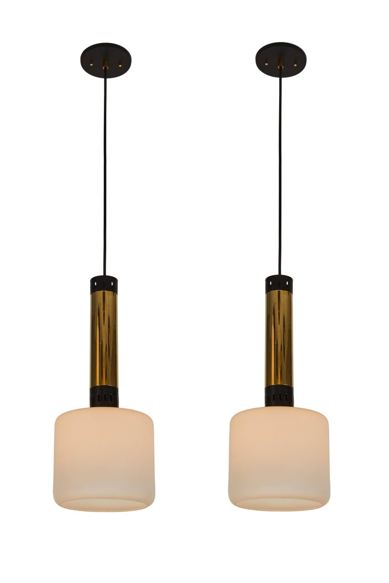 Pair of Large 1950s Stilnovo Glass and Brass Pendants For Sale 4