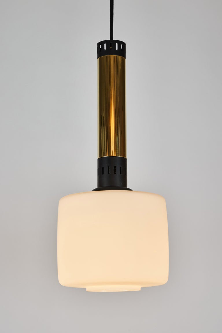 Mid-Century Modern Pair of Large 1950s Stilnovo Glass and Brass Pendants For Sale