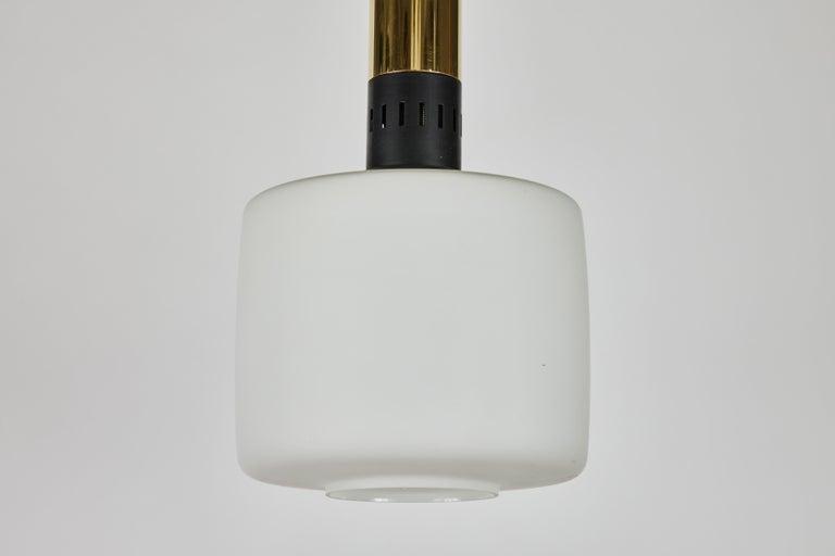 Italian Pair of Large 1950s Stilnovo Glass and Brass Pendants For Sale