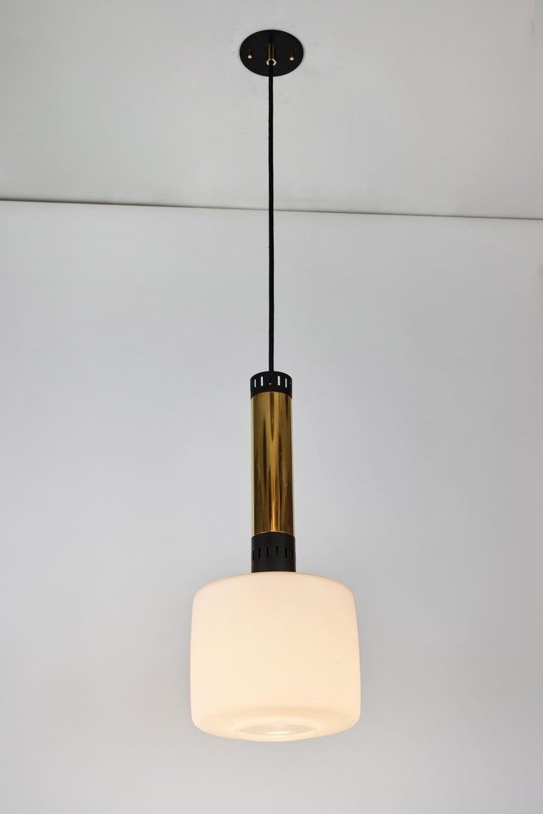 Mid-20th Century Pair of Large 1950s Stilnovo Glass and Brass Pendants For Sale