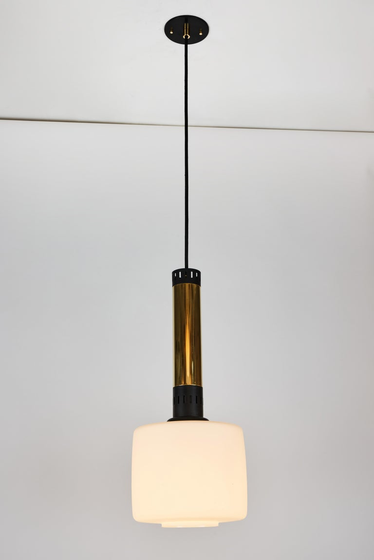 Pair of Large 1950s Stilnovo Glass and Brass Pendants For Sale 2