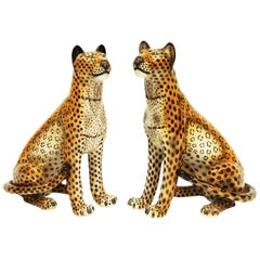 Pair of Large 1960s Ceramic Leopards by Favaro Cecchetto, Italy