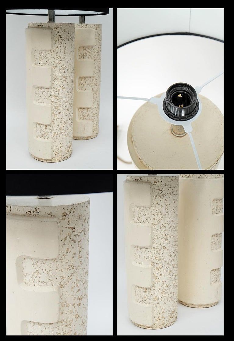 Pair of Large 1970s Brutalist Ceramic Cylinder Table Lamps In Good Condition For Sale In Nottingham, Nottinghamshire