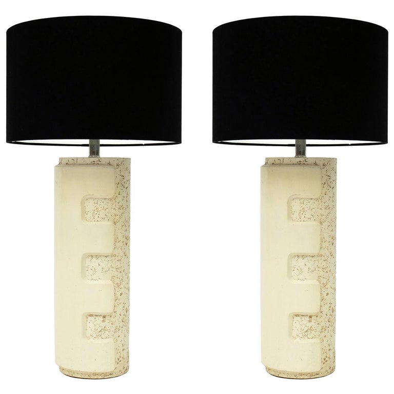 Pair of Large 1970s Brutalist Ceramic Cylinder Table Lamps For Sale
